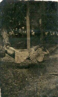 tintype of two girls in a hammock